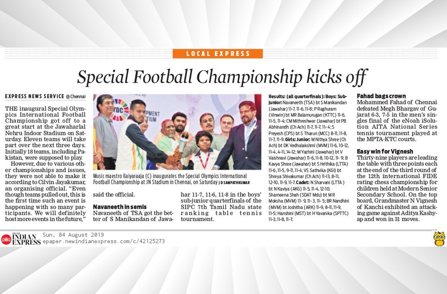 Evoke Media - Special Olympics- The New Indian Express  August'19