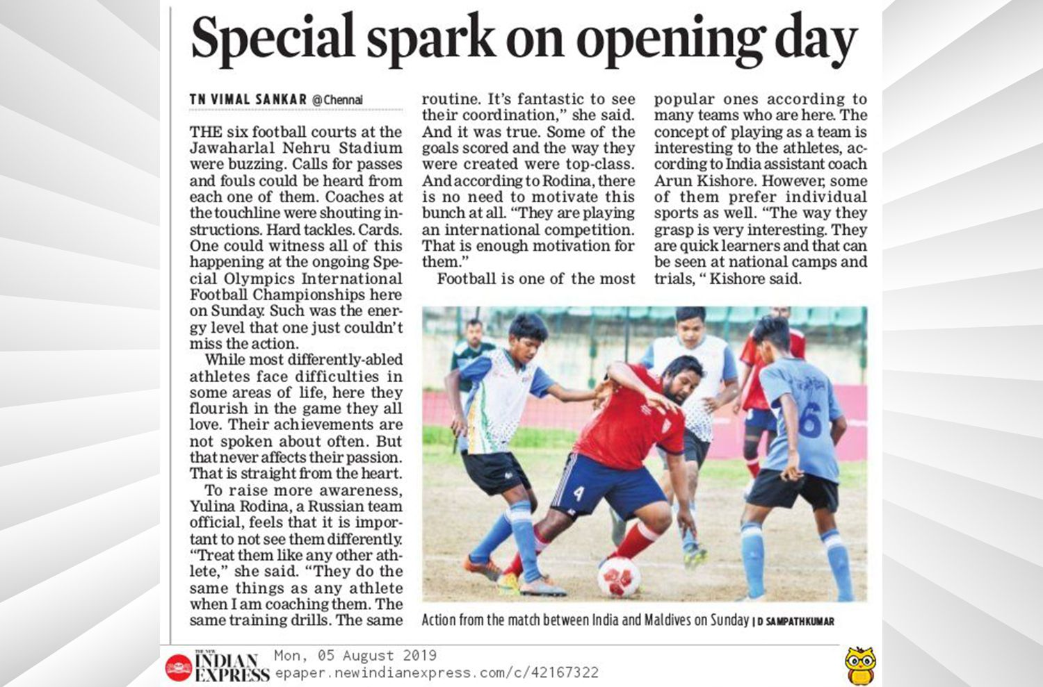 Special Olympics New Indian Express  August