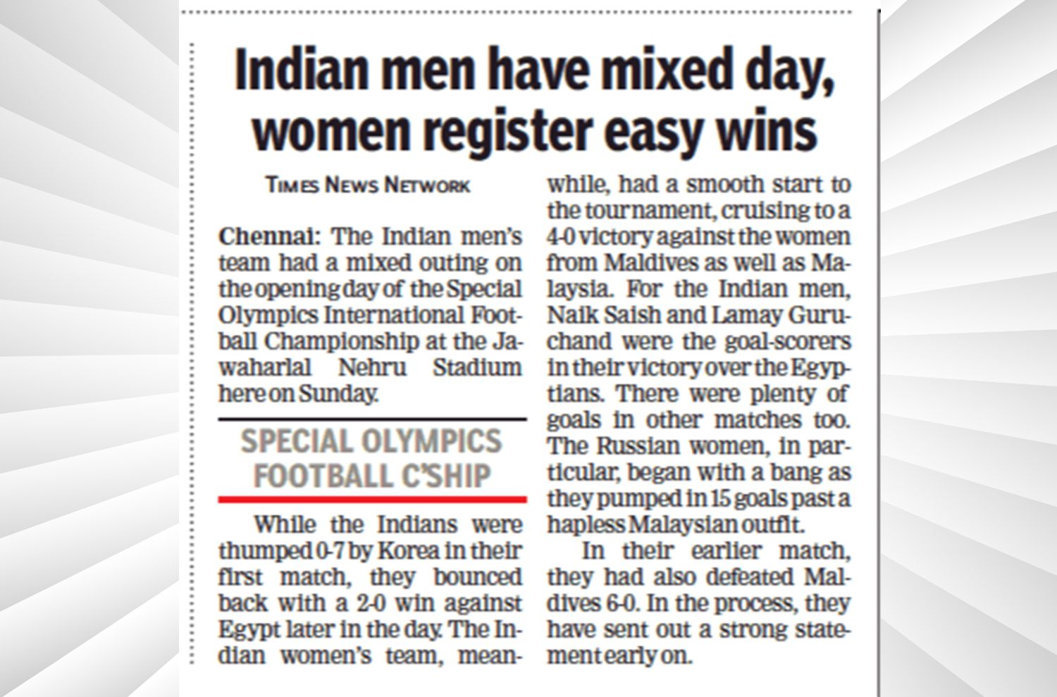 Special Olympics The Times of India