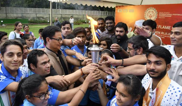 "PIB: For the third time since the beginning of the Special Olympics, the Special Olympics Torch, ""Flame of Hope"" has arrived in India"